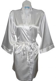 Sophia's Satin Robe White