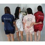 Embroidered Front and Back Satin PJ Set White/Black